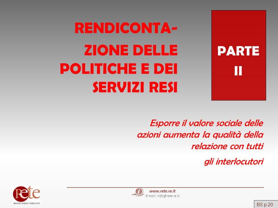 www.rete.re.it E-mail: info@rete.re.it PARTE II RENDICONTA- ZIONE DELLE POLITICHE E DEI SERVIZI RESI Esporre il valore sociale delle azioni aumenta la