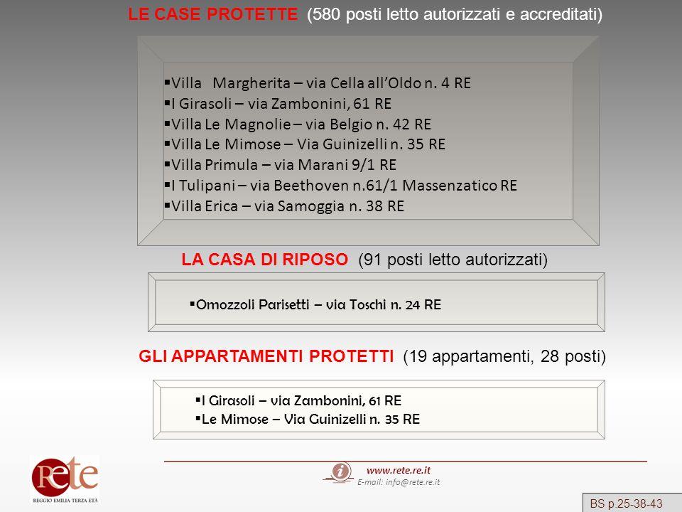 www.rete.re.it E-mail: info@rete.re.it LE CASE PROTETTE (580 posti letto autorizzati e accreditati) LA CASA DI RIPOSO (91 posti letto autorizzati) GLI