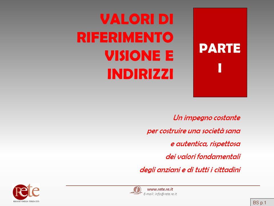 www.rete.re.it E-mail: info@rete.re.it VALORI DI RIFERIMENTO VISIONE E INDIRIZZI PARTE I Un impegno costante per costruire una società sana e autentic