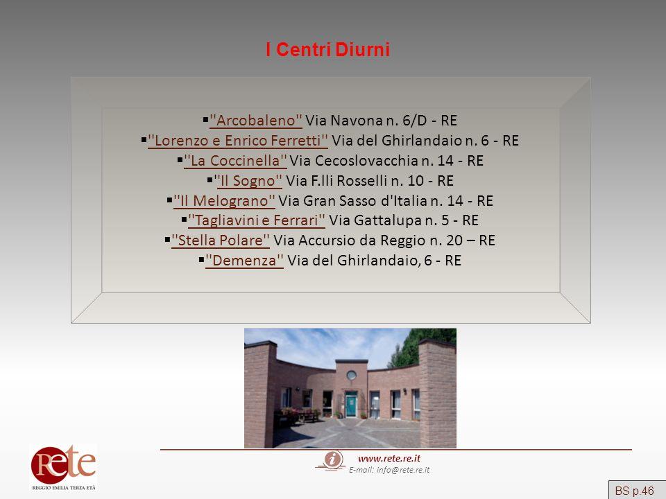 www.rete.re.it E-mail: info@rete.re.it I Centri Diurni ''Arcobaleno'' Via Navona n. 6/D - RE ''Arcobaleno'' ''Lorenzo e Enrico Ferretti'' Via del Ghir