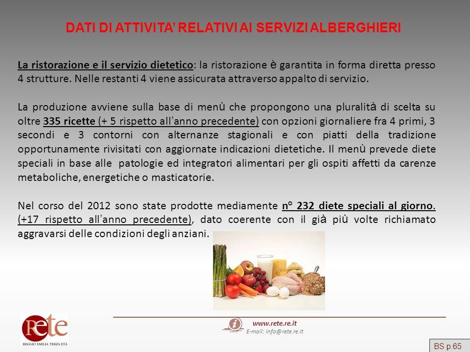 www.rete.re.it E-mail: info@rete.re.it DATI DI ATTIVITA RELATIVI AI SERVIZI ALBERGHIERI La ristorazione e il servizio dietetico: la ristorazione è gar