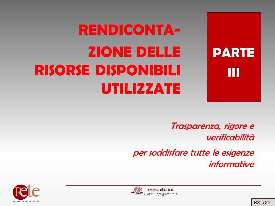 www.rete.re.it E-mail: info@rete.re.it PARTE III RENDICONTA- ZIONE DELLE RISORSE DISPONIBILI UTILIZZATE Trasparenza, rigore e verificabilità per soddi