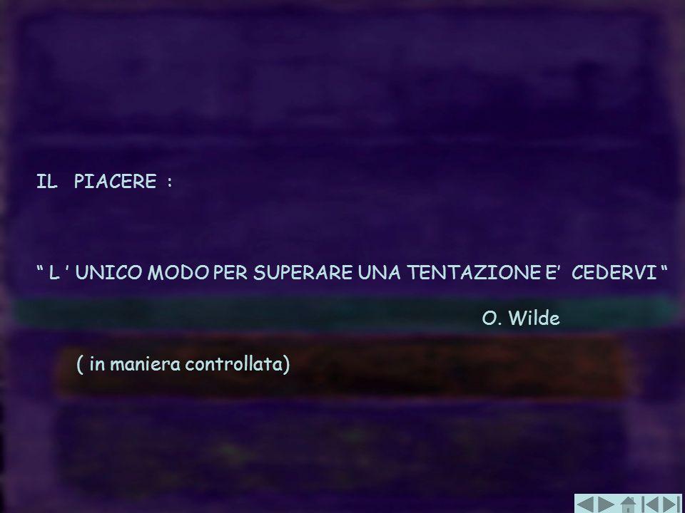 IL PIACERE : L UNICO MODO PER SUPERARE UNA TENTAZIONE E CEDERVI O. Wilde ( in maniera controllata)