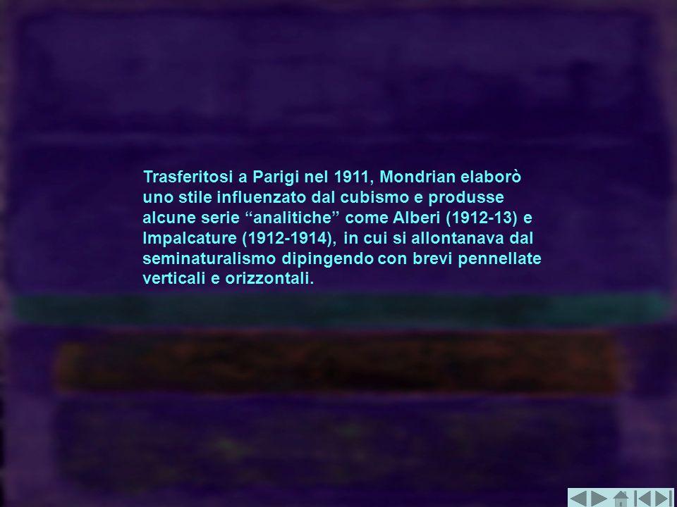 Trasferitosi a Parigi nel 1911, Mondrian elaborò uno stile influenzato dal cubismo e produsse alcune serie analitiche come Alberi (1912-13) e Impalcat