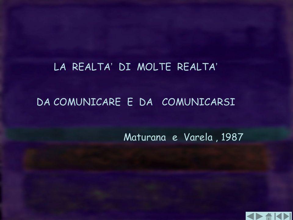 LA REALTA DI MOLTE REALTA DA COMUNICARE E DA COMUNICARSI Maturana e Varela, 1987