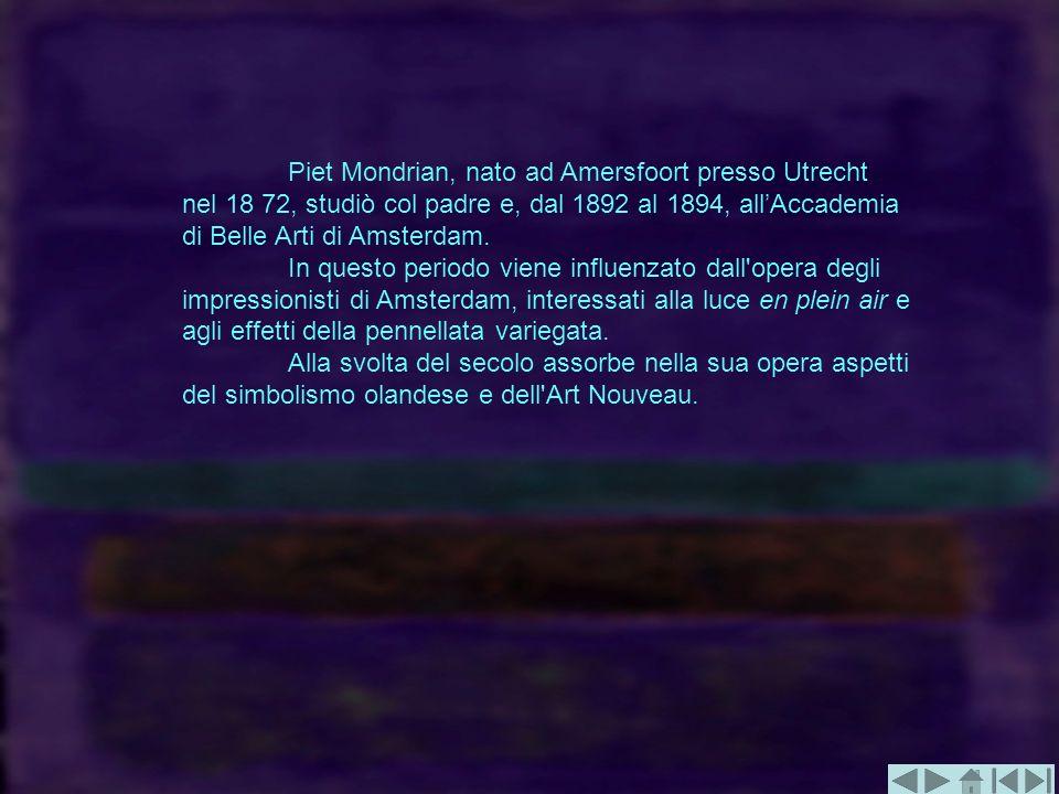 Piet Mondrian, nato ad Amersfoort presso Utrecht nel 18 72, studiò col padre e, dal 1892 al 1894, allAccademia di Belle Arti di Amsterdam. In questo p