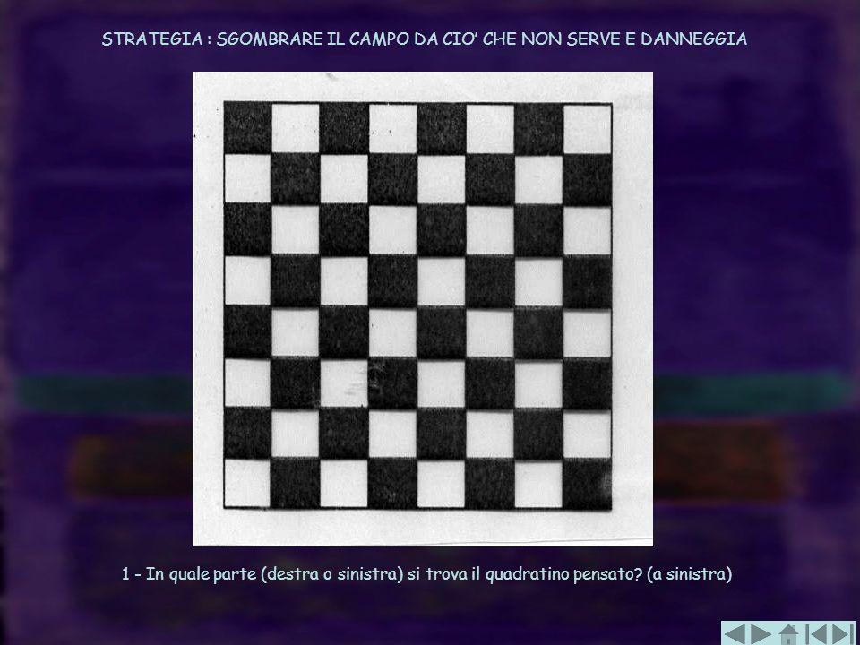 STRATEGIA : SGOMBRARE IL CAMPO DA CIO CHE NON SERVE E DANNEGGIA 1 - In quale parte (destra o sinistra) si trova il quadratino pensato? (a sinistra)