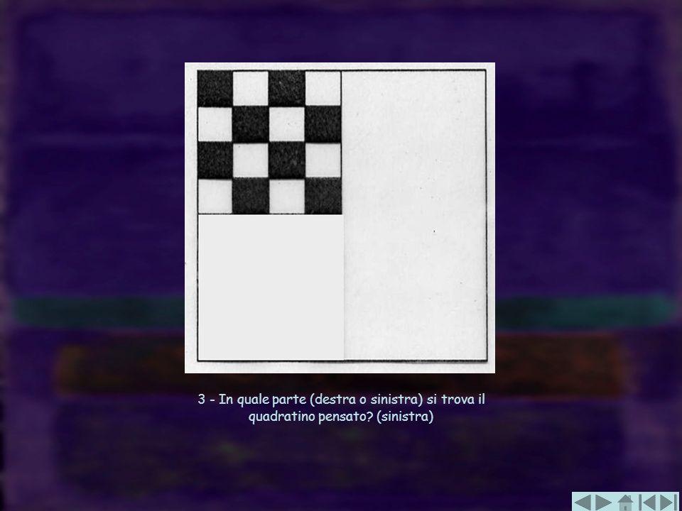 3 - In quale parte (destra o sinistra) si trova il quadratino pensato? (sinistra)