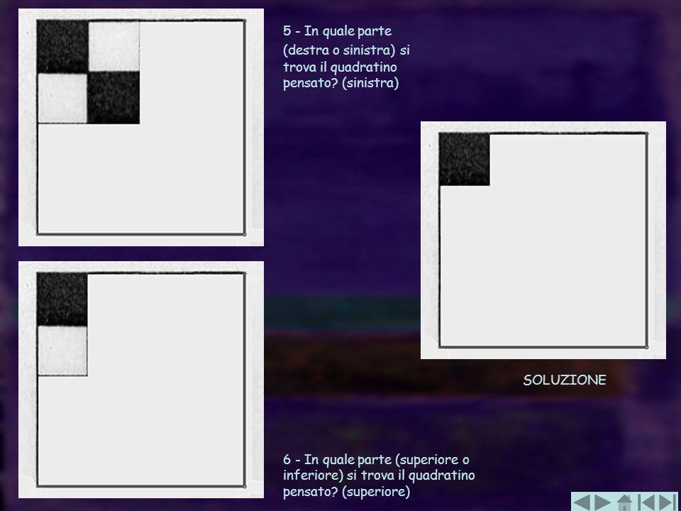 5 - In quale parte (destra o sinistra) si trova il quadratino pensato? (sinistra) 6 - In quale parte (superiore o inferiore) si trova il quadratino pe