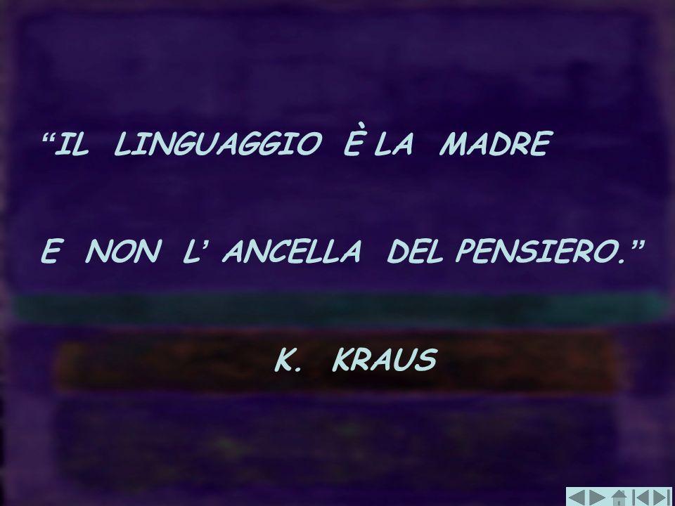IL LINGUAGGIO È LA MADRE E NON L ANCELLA DEL PENSIERO. K. KRAUS