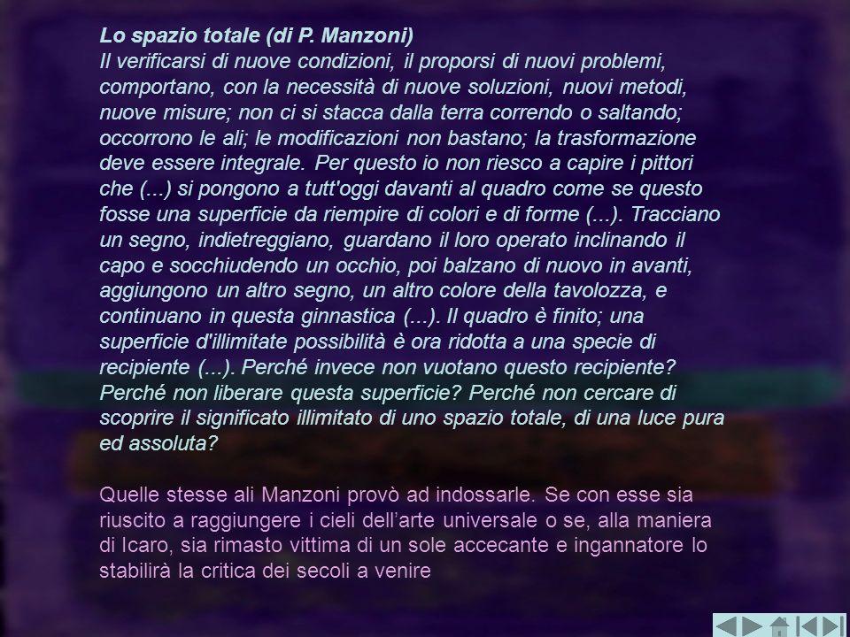Lo spazio totale (di P. Manzoni) Il verificarsi di nuove condizioni, il proporsi di nuovi problemi, comportano, con la necessità di nuove soluzioni, n