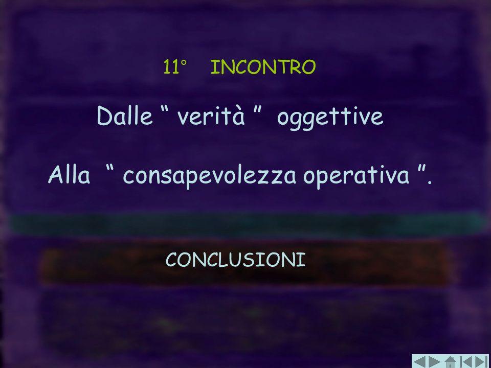 11° INCONTRO Dalle verità oggettive Alla consapevolezza operativa. CONCLUSIONI