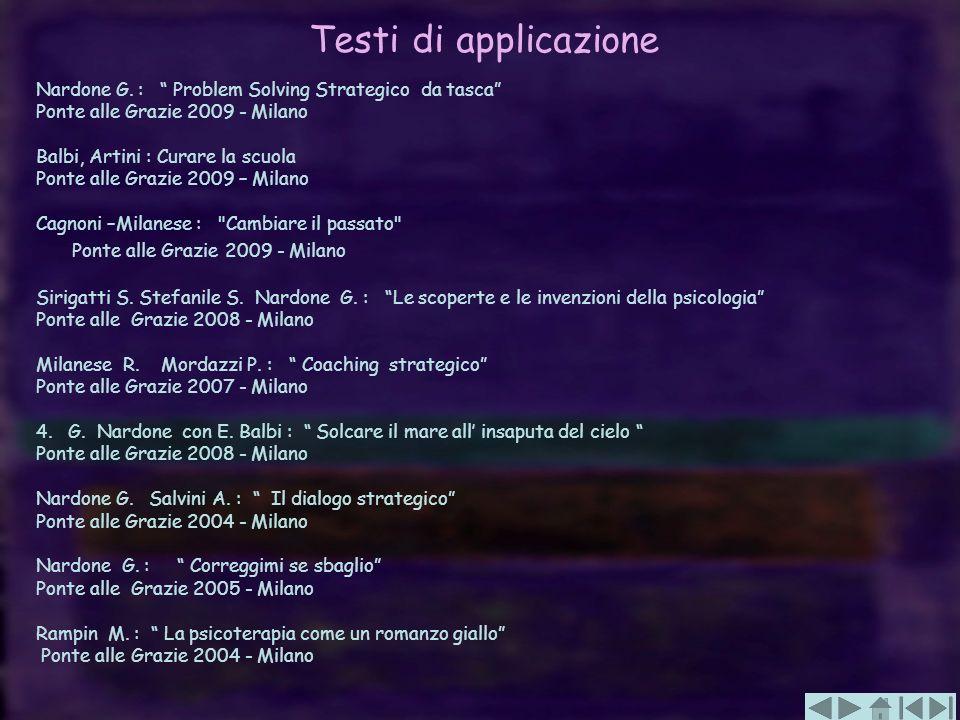 Testi di applicazione Nardone G. : Problem Solving Strategico da tasca Ponte alle Grazie 2009 - Milano Balbi, Artini : Curare la scuola Ponte alle Gra