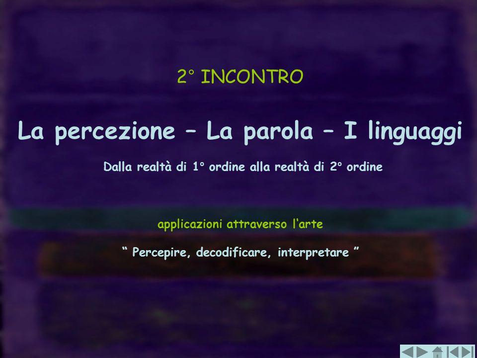 2° INCONTRO La percezione – La parola – I linguaggi Dalla realtà di 1° ordine alla realtà di 2° ordine applicazioni attraverso larte Percepire, decodi