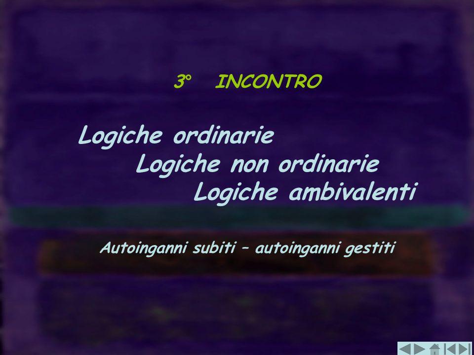 3° INCONTRO Logiche ordinarie Logiche non ordinarie Logiche ambivalenti Autoinganni subiti – autoinganni gestiti