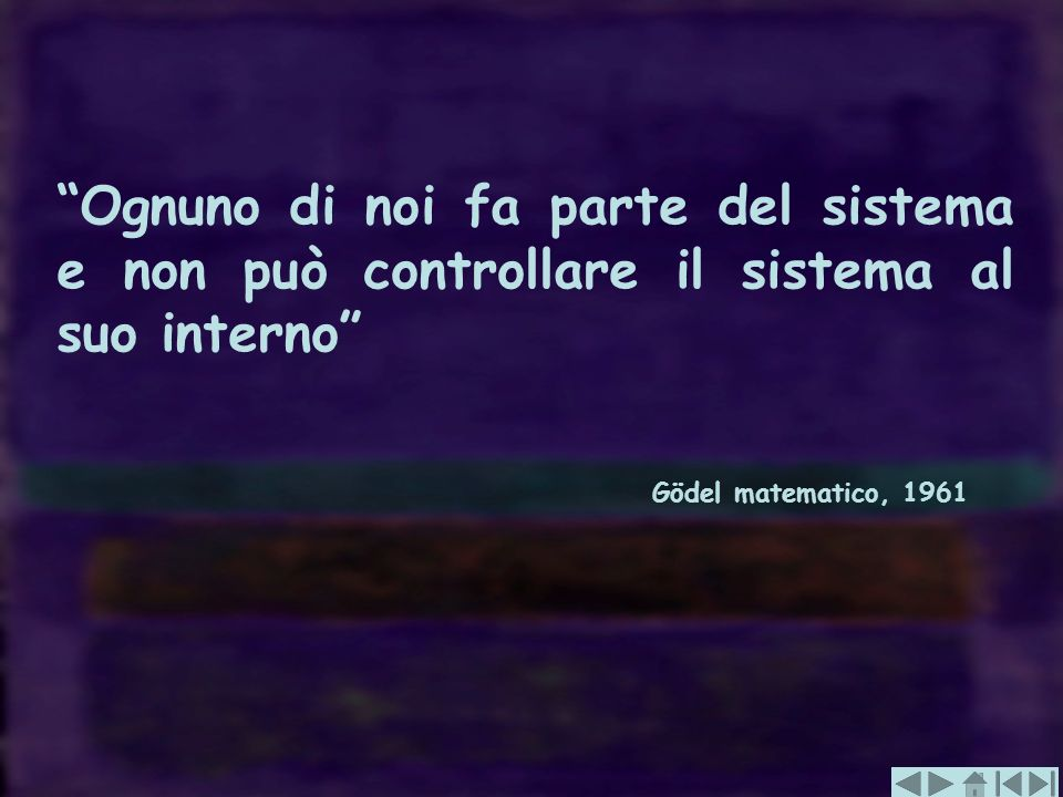 Ognuno di noi fa parte del sistema e non può controllare il sistema al suo interno Gödel matematico, 1961
