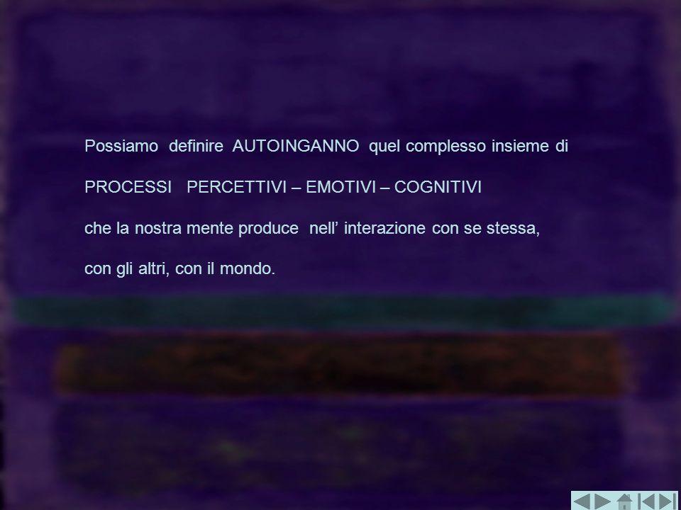 Possiamo definire AUTOINGANNO quel complesso insieme di PROCESSI PERCETTIVI – EMOTIVI – COGNITIVI che la nostra mente produce nell interazione con se