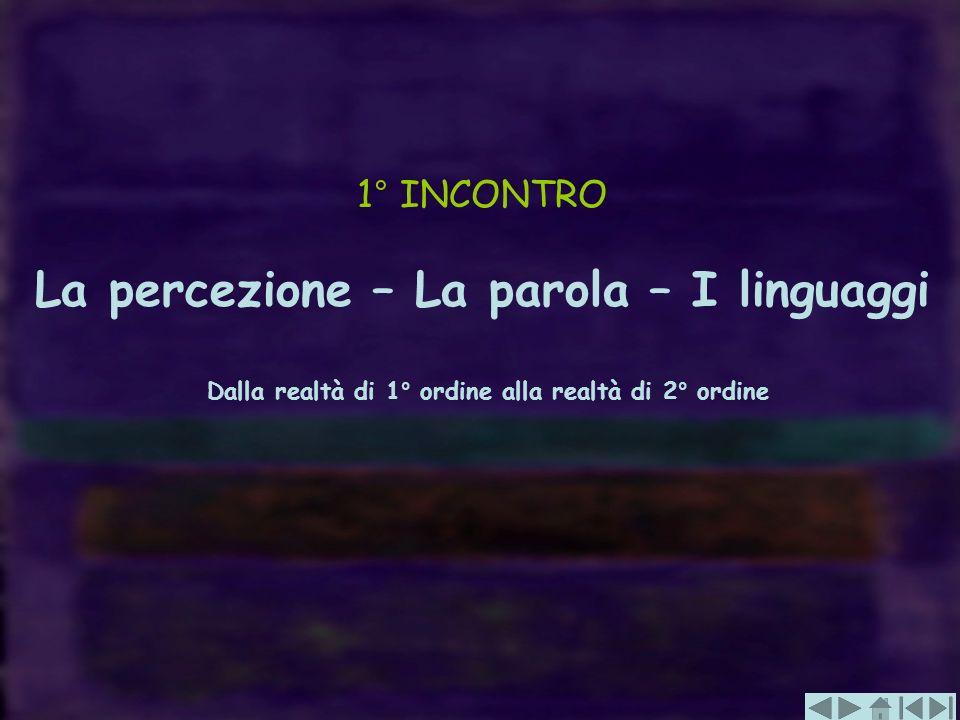 1° INCONTRO La percezione – La parola – I linguaggi Dalla realtà di 1° ordine alla realtà di 2° ordine
