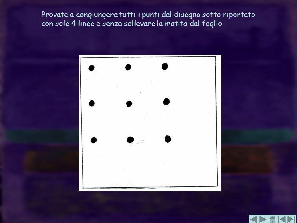 Provate a congiungere tutti i punti del disegno sotto riportato con sole 4 linee e senza sollevare la matita dal foglio