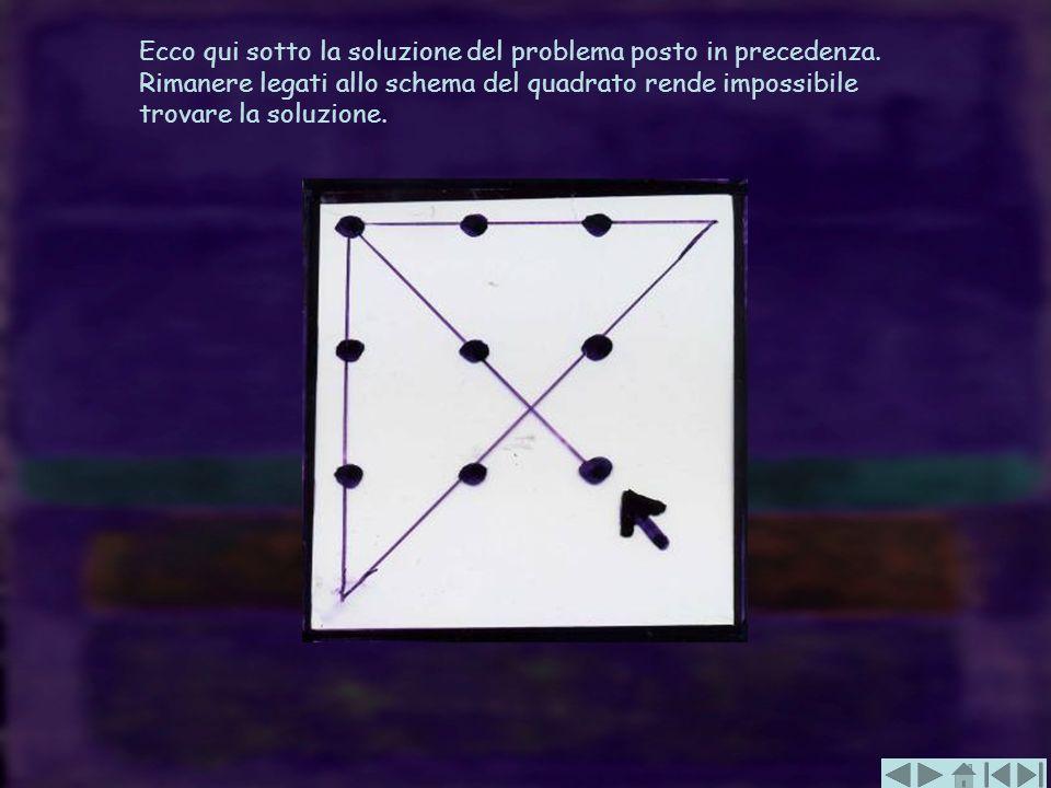 Ecco qui sotto la soluzione del problema posto in precedenza. Rimanere legati allo schema del quadrato rende impossibile trovare la soluzione.