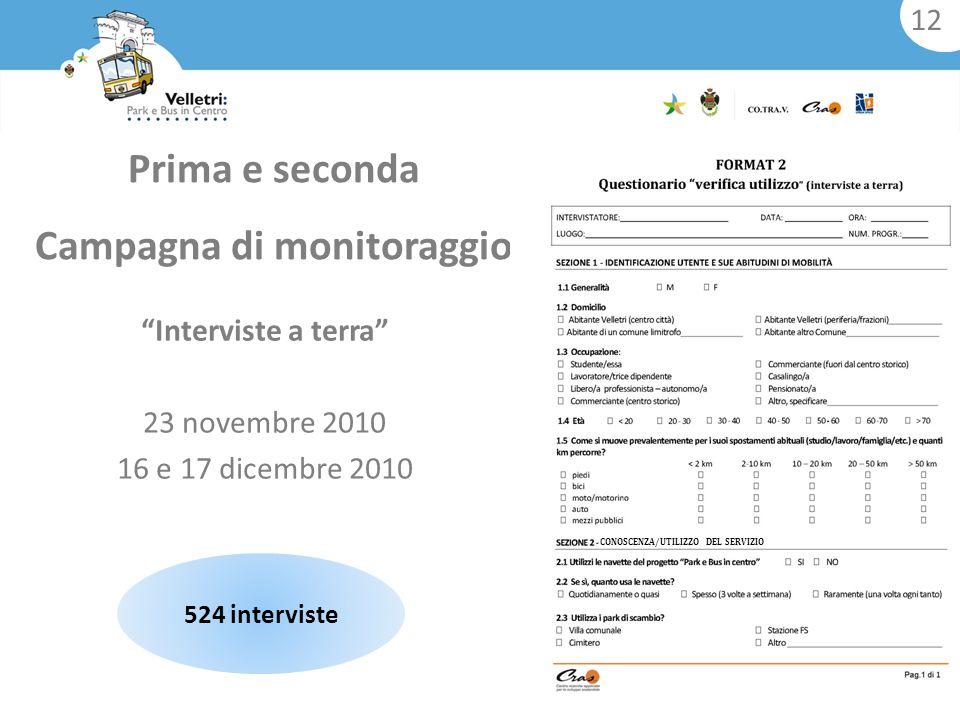 524 interviste Interviste a terra 23 novembre 2010 16 e 17 dicembre 2010 Prima e seconda Campagna di monitoraggio 12 CONOSCENZA/UTILIZZO DEL SERVIZIO