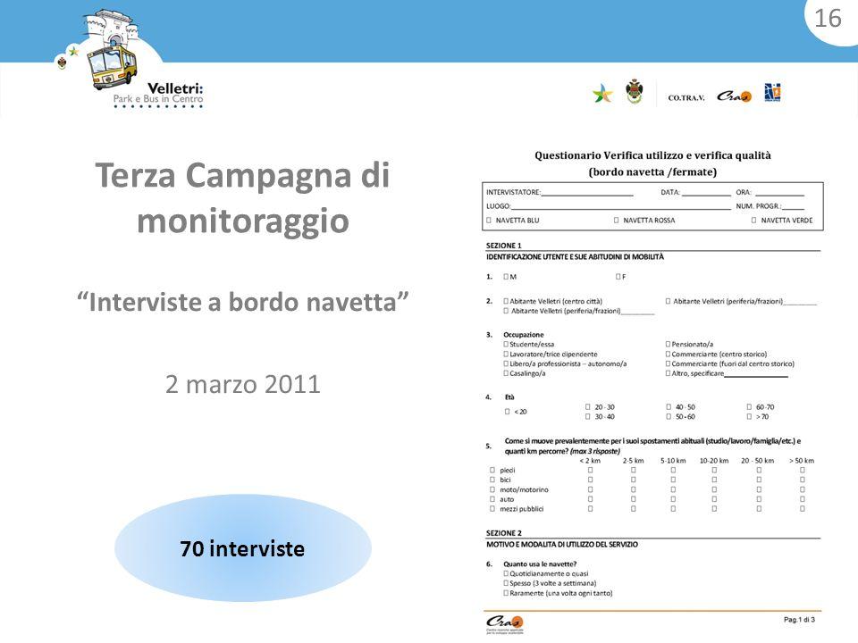 Interviste a bordo navetta 2 marzo 2011 Terza Campagna di monitoraggio 70 interviste 16