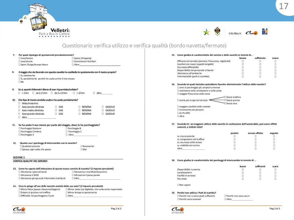 Questionario verifica utilizzo e verifica qualità (bordo navetta/fermate) 17