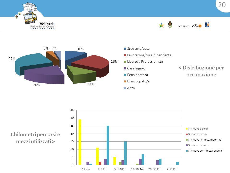 < Distribuzione per occupazione Chilometri percorsi e mezzi utilizzati > 20