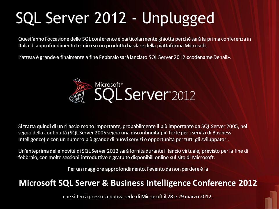 SQL Server 2012 - UnpluggedSQL Server 2012 - Unplugged Questanno loccasione delle SQL conference è particolarmente ghiotta perché sarà la prima conferenza in Italia di approfondimento tecnico su un prodotto basilare della piattaforma Microsoft.