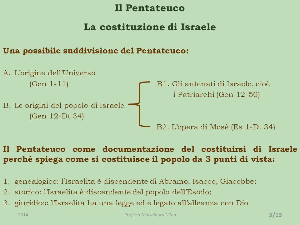 Il Pentateuco La costituzione di Israele Una possibile suddivisione del Pentateuco: A.Lorigine dellUniverso (Gen 1-11) B1.