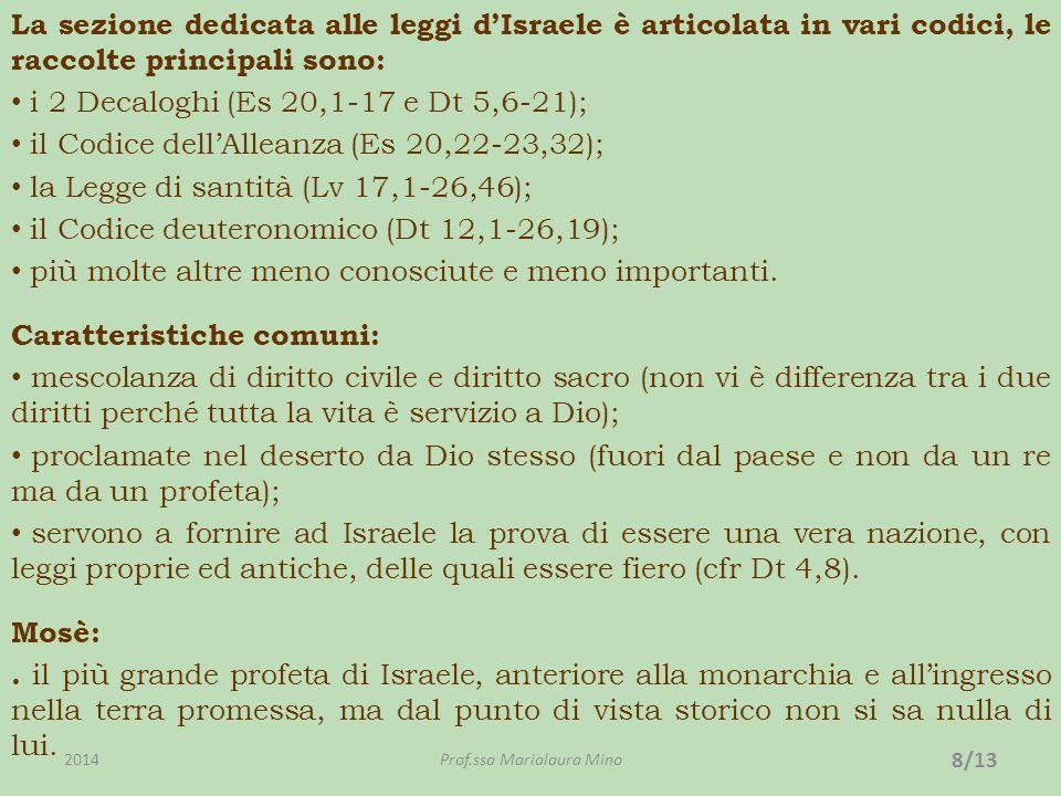 La sezione dedicata alle leggi dIsraele è articolata in vari codici, le raccolte principali sono: i 2 Decaloghi (Es 20,1-17 e Dt 5,6-21); il Codice dellAlleanza (Es 20,22-23,32); la Legge di santità (Lv 17,1-26,46); il Codice deuteronomico (Dt 12,1-26,19); più molte altre meno conosciute e meno importanti.