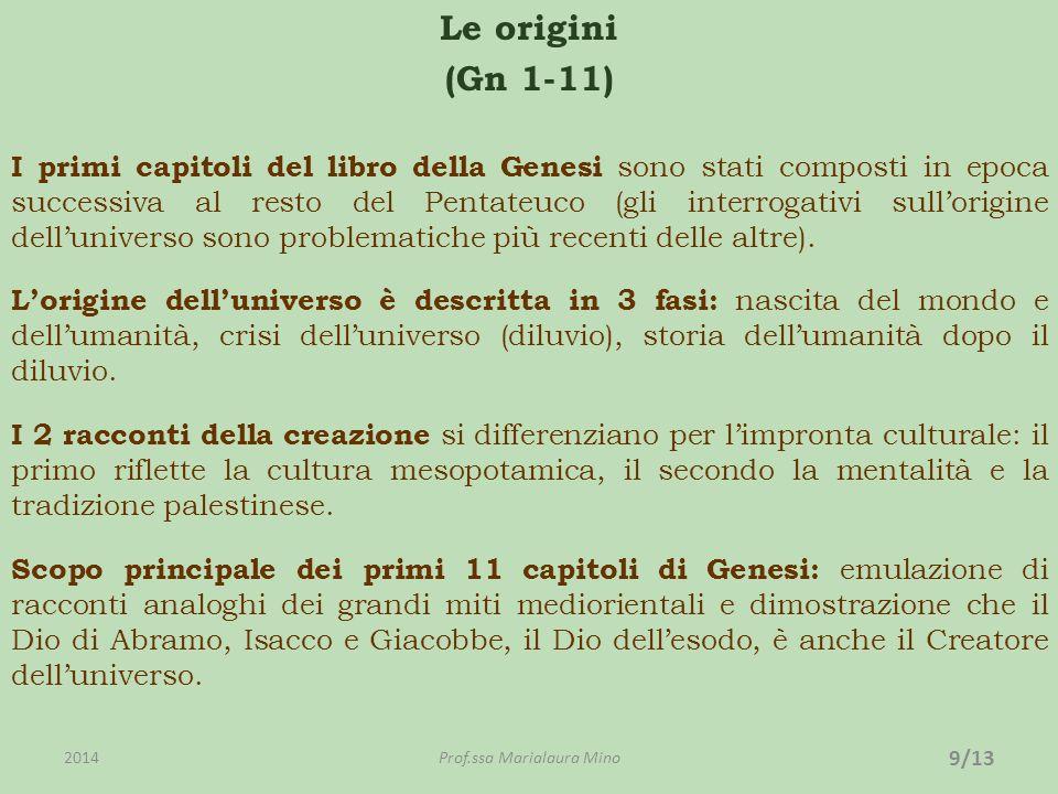 Le origini (Gn 1-11) I primi capitoli del libro della Genesi sono stati composti in epoca successiva al resto del Pentateuco (gli interrogativi sullorigine delluniverso sono problematiche più recenti delle altre).
