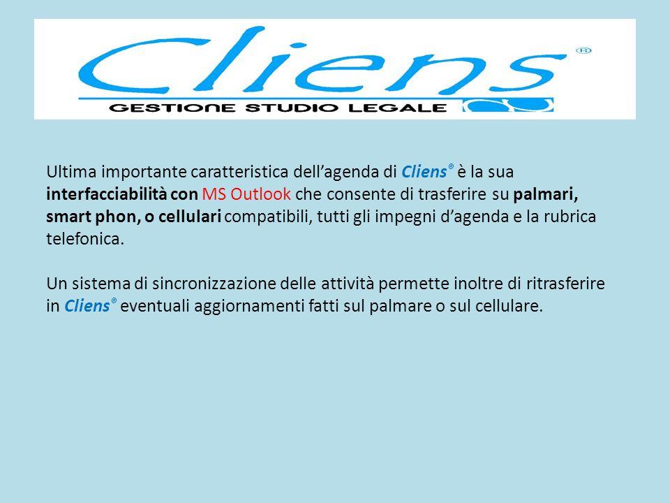Ultima importante caratteristica dellagenda di Cliens ® è la sua interfacciabilità con MS Outlook che consente di trasferire su palmari, smart phon, o