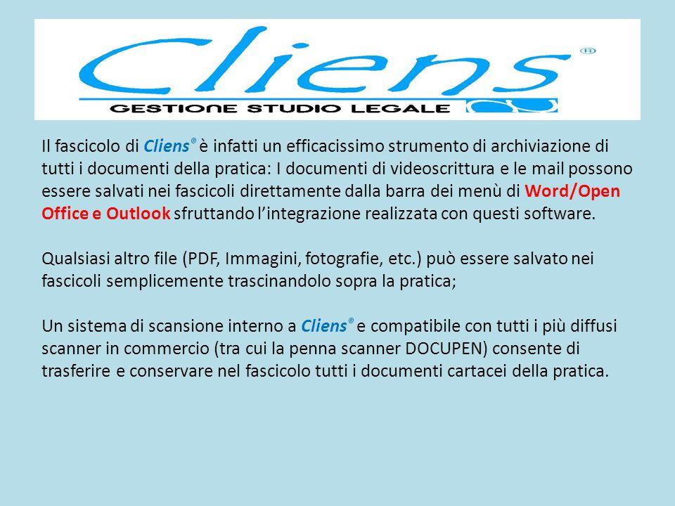 Il fascicolo di Cliens ® è infatti un efficacissimo strumento di archiviazione di tutti i documenti della pratica: I documenti di videoscrittura e le