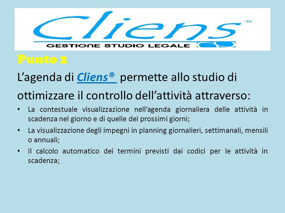 Punto 2 Lagenda di Cliens® permette allo studio di ottimizzare il controllo dellattività attraverso: La contestuale visualizzazione nellagenda giornal