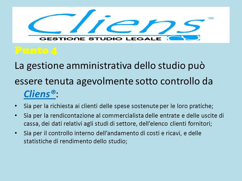 Punto 4 La gestione amministrativa dello studio può essere tenuta agevolmente sotto controllo da Cliens®: Sia per la richiesta ai clienti delle spese