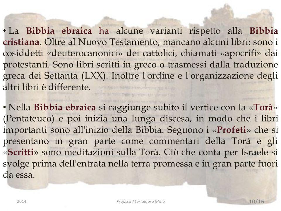 La Bibbia ebraica ha alcune varianti rispetto alla Bibbia cristiana. Oltre al Nuovo Testamento, mancano alcuni libri: sono i cosiddetti «deuterocanoni