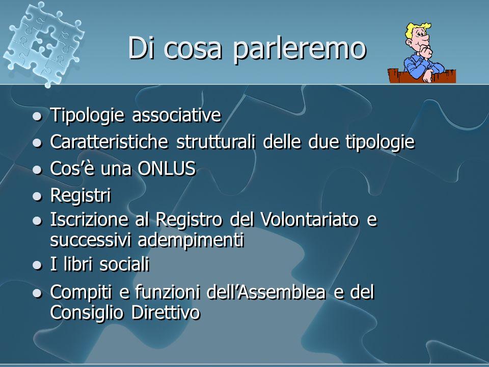 Di cosa parleremo Caratteristiche strutturali delle due tipologie Tipologie associative Cosè una ONLUS Compiti e funzioni dellAssemblea e del Consigli