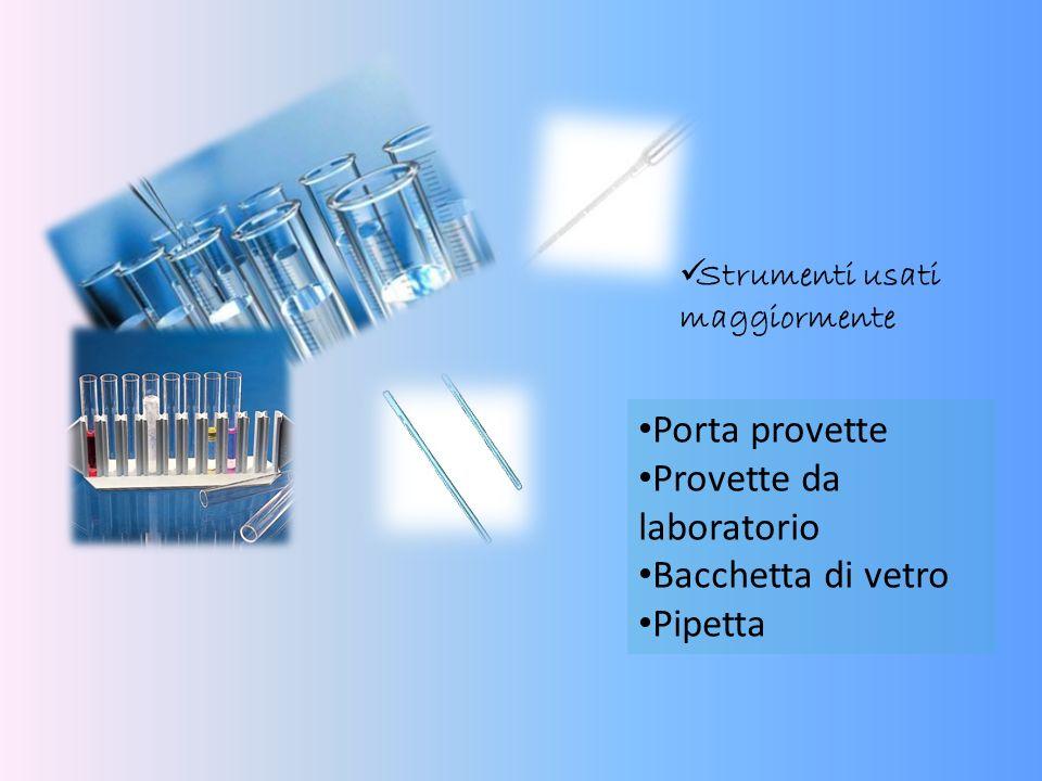Porta provette Provette da laboratorio Bacchetta di vetro Pipetta Strumenti usati maggiormente