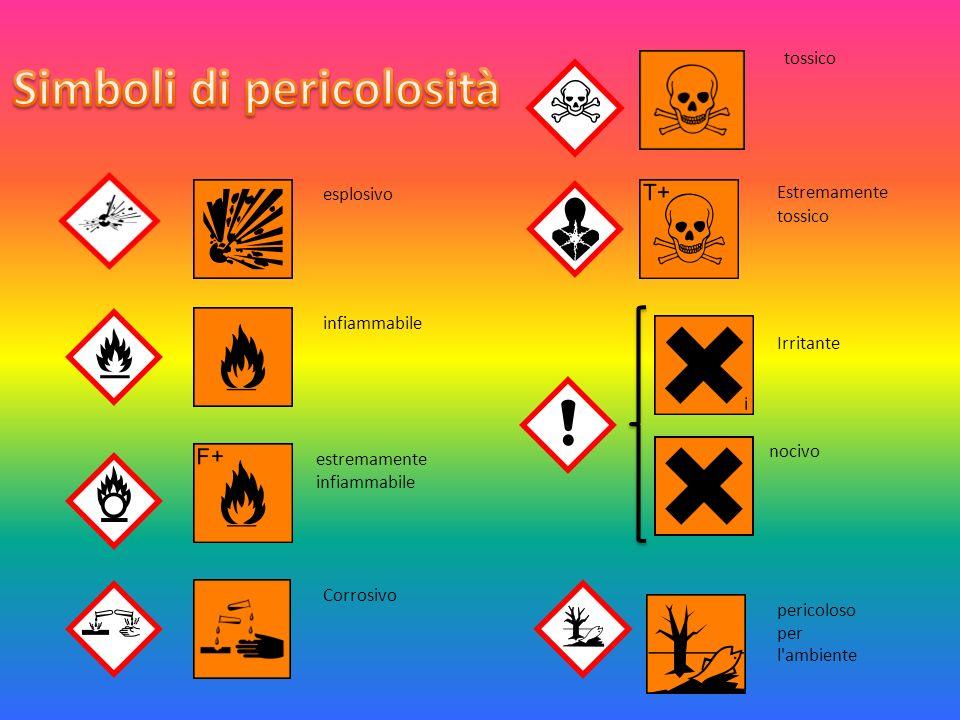 esplosivo infiammabile estremamente infiammabile pericoloso per l ambiente Corrosivo tossico Estremamente tossico Irritante nocivo