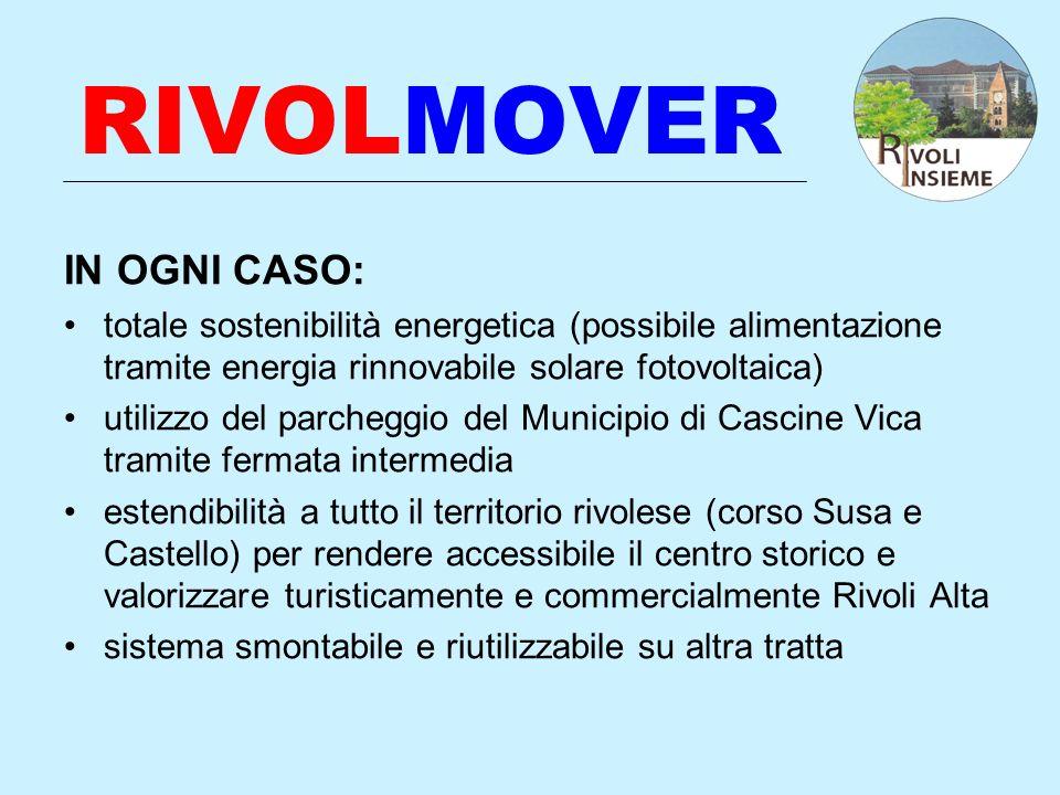 RIVOLMOVER IN OGNI CASO: totale sostenibilità energetica (possibile alimentazione tramite energia rinnovabile solare fotovoltaica) utilizzo del parche