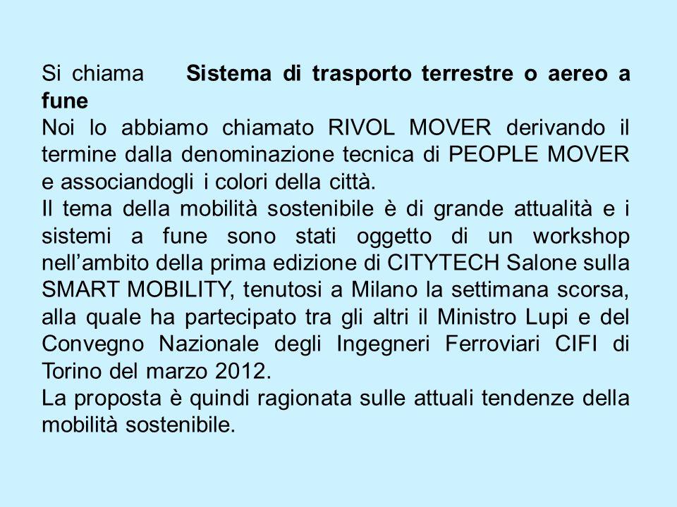 Si chiama Sistema di trasporto terrestre o aereo a fune Noi lo abbiamo chiamato RIVOL MOVER derivando il termine dalla denominazione tecnica di PEOPLE