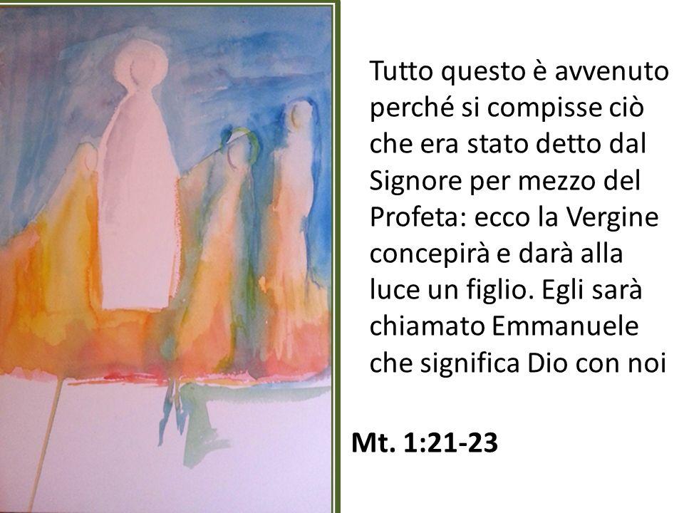 Tutto questo è avvenuto perché si compisse ciò che era stato detto dal Signore per mezzo del Profeta: ecco la Vergine concepirà e darà alla luce un fi