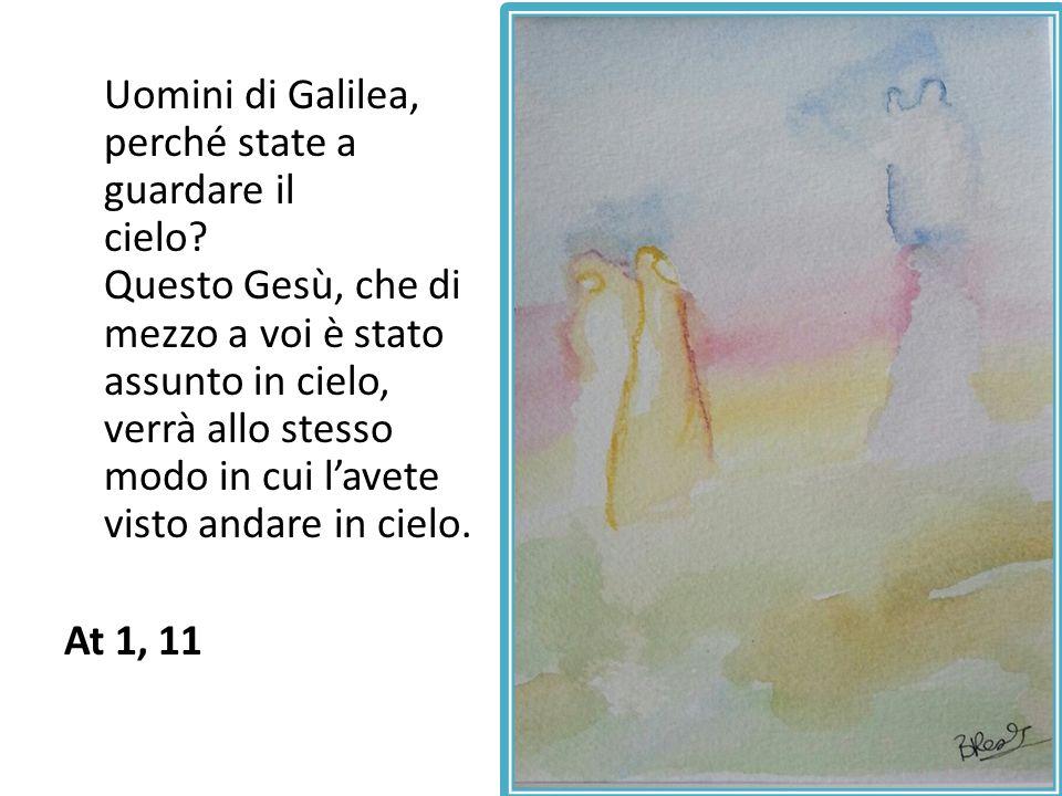 Uomini di Galilea, perché state a guardare il cielo? Questo Gesù, che di mezzo a voi è stato assunto in cielo, verrà allo stesso modo in cui lavete vi