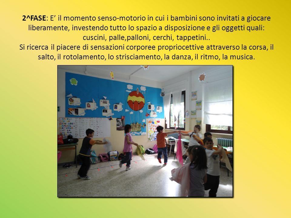 2^FASE: E il momento senso-motorio in cui i bambini sono invitati a giocare liberamente, investendo tutto lo spazio a disposizione e gli oggetti quali: cuscini, palle,palloni, cerchi, tappetini..