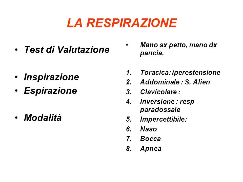 LA RESPIRAZIONE Test di Valutazione Inspirazione Espirazione Modalità Mano sx petto, mano dx pancia, 1.Toracica: iperestensione 2.Addominale : S.