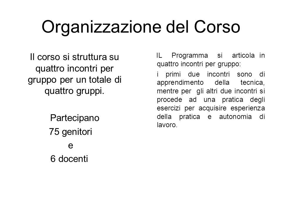 Organizzazione del Corso Il corso si struttura su quattro incontri per gruppo per un totale di quattro gruppi.