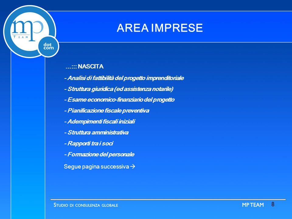 7 AREA IMPRESE Un assistenza di qualità capace di fornire valore aggiunto all ordinaria e straordinaria gestione della vita d impresa.
