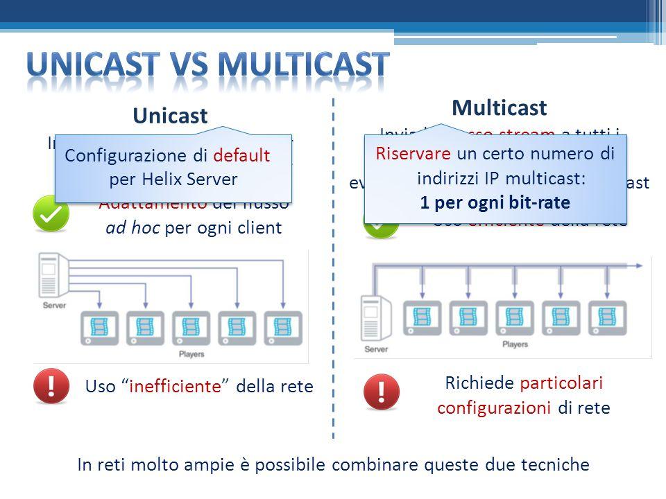Unicast Invia uno stream separato per ogni receiver o media player Multicast Invia lo stesso stream a tutti i receiver o media player, con eventuale canale di controllo unicast Adattamento del flusso ad hoc per ogni client Uso inefficiente della rete Uso efficiente della rete Richiede particolari configurazioni di rete In reti molto ampie è possibile combinare queste due tecniche Configurazione di default per Helix Server Riservare un certo numero di indirizzi IP multicast: 1 per ogni bit-rate