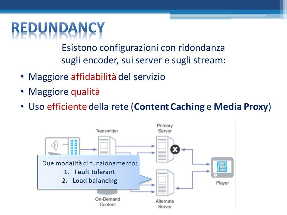 Esistono configurazioni con ridondanza sugli encoder, sui server e sugli stream: Maggiore affidabilità del servizio Maggiore qualità Uso efficiente della rete (Content Caching e Media Proxy) Due modalità di funzionamento: 1.